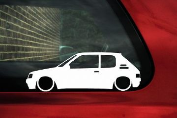2x LOW Peugeot 205 GTi 1.9 / 1.6 GR, DTurbo,GRD outline stickers (1)